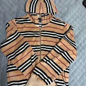 Burberry Velour zip up hoodie